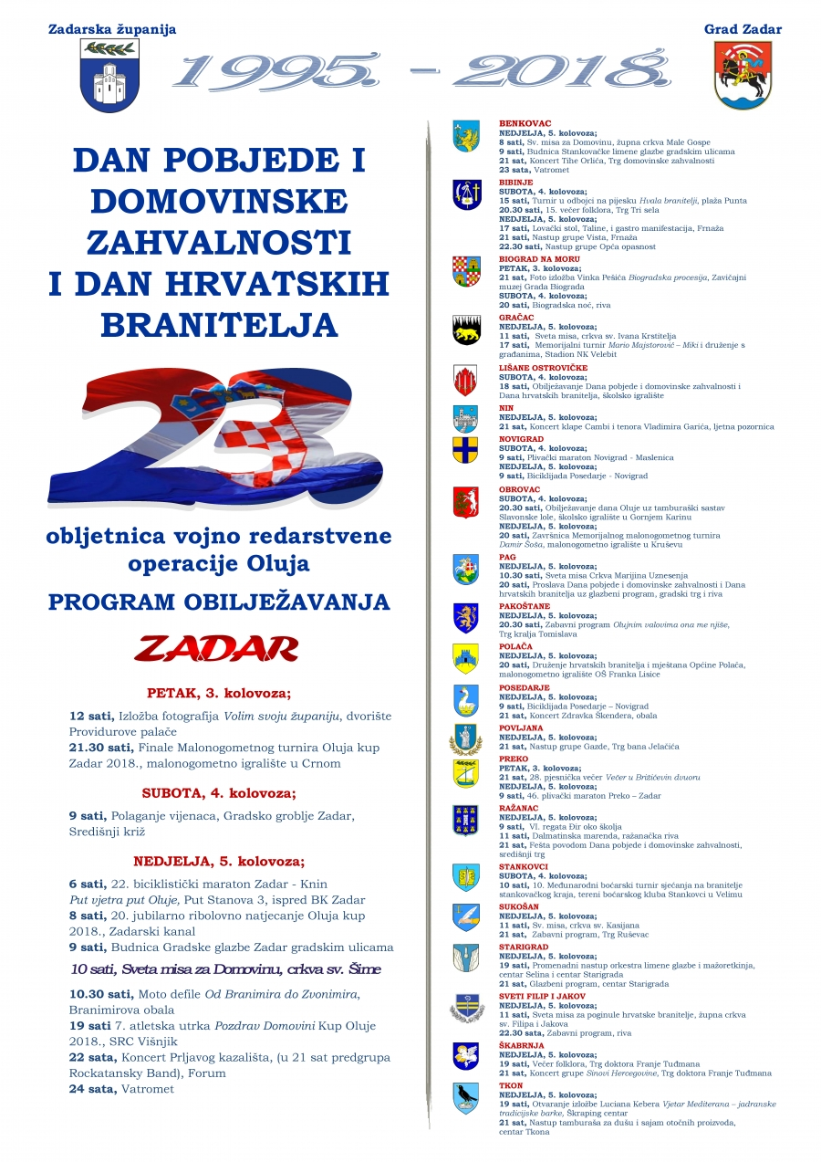 Zadarska županija obilježava 23. obljetnicu vojno redarstvene operacije Oluja
