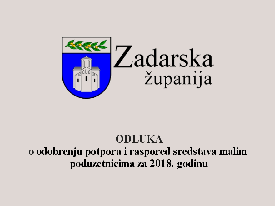 Odluka o odobrenju potpora i raspored sredstava malim poduzetnicima za 2018. godinu.